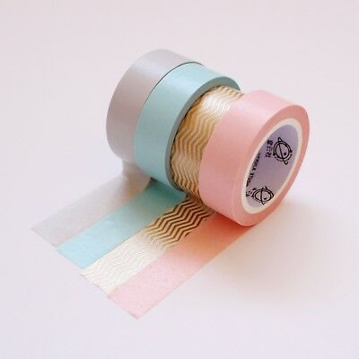 Pastel Washi Tape Set of 4 Pink, Blue, Grey, Gold Pattern Pack