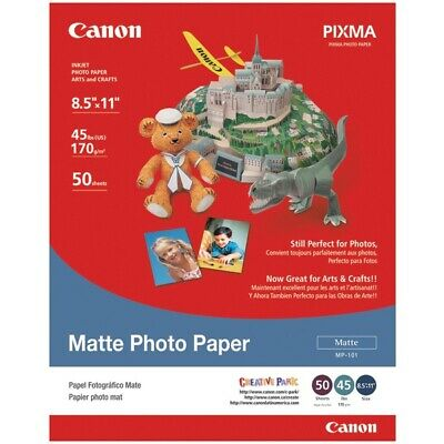 """Canon 7981A004AB Matte Photo Paper 8.5""""x11"""" Package Of 50"""