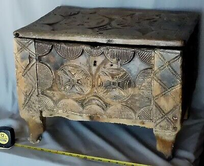 Ancient Medieval English oak parish chest 15th c carved hex sign wood church box