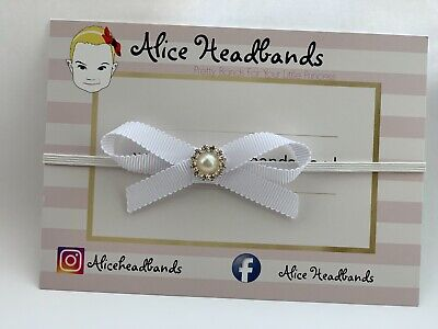 Baby Girl Small White Christening Headband Baptism Wedding Bow Pearl Hairband