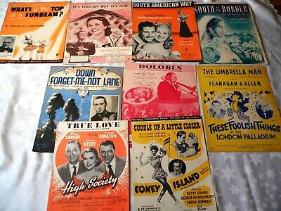10 x Vintage Sheet Music 1930's & 1940's Popular songs Musicals Films & Stage G
