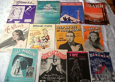 12 x Vintage Sheet Music 1930's & 1940's Popular songs Musicals Films & Stage E