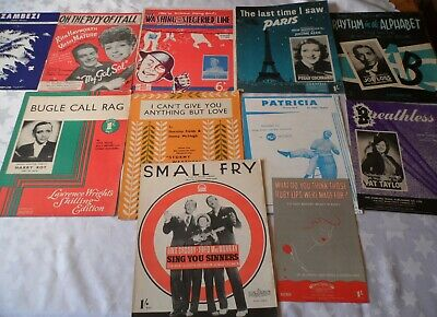 11 x Vintage Sheet Music 1930's & 1940's Popular songs Musicals Films & Stage D