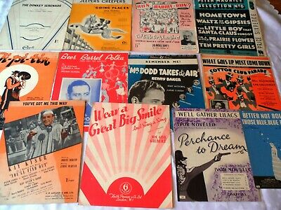 12 x Vintage Sheet Music 1930's & 1940's Popular songs Musicals Films & Stage C