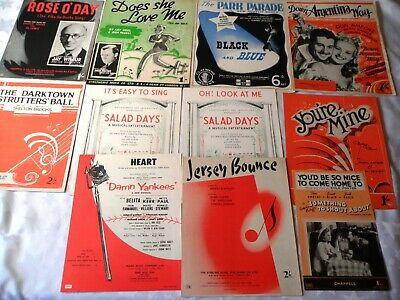 11 x Vintage Sheet Music 1930's & 1940's Popular songs Musicals Films & Stage B