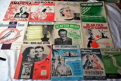12 x Vintage Sheet Music 1930's & 1940's Popular songs Musicals Films & Stage A