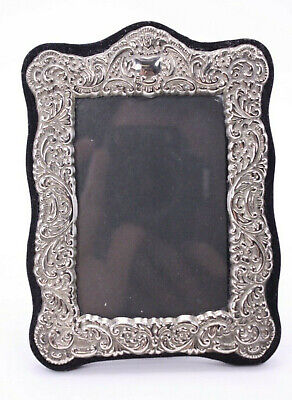 Silver Plate Ornate Stamped Metal Antique Style Vtg Small Easel Picture Frame