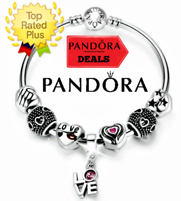 Authentic Pandora Bracelet Silver Bangle LOVE Black Red  with European Charms