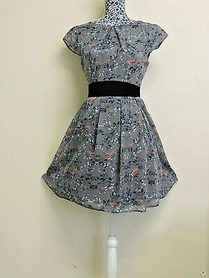 Dorothy Perkins Blue White Leaves Coral Birds Floral Waist Bow Tie Dress UK 8