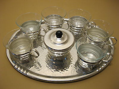 Tea Set 6 Tea Glasses + Sugar Bowl + Tray in Hammered Look - Bauhaus Design
