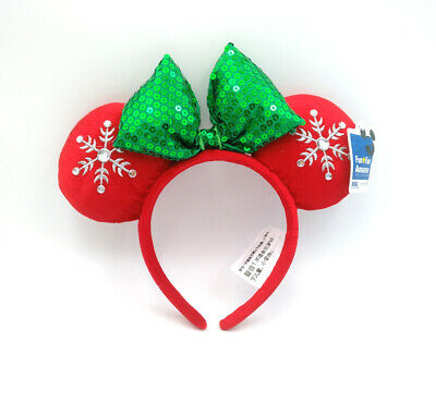 Disney Park Snowflake Mickey Sequins Green Bow Red Minnie Mouse Ears Headband