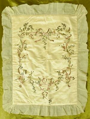 Beautiful Antique French Hand Painted Silk Baby Coverlet, Ribbon, Bow & Flowers