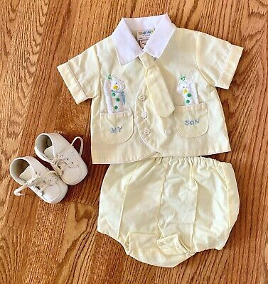 Vintage baby boy suit, never worn, rubber lined pants, baby gift, necktie