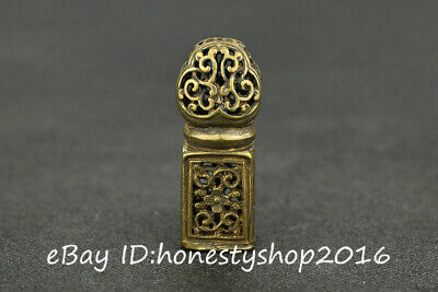 Chinese Bronze Copper Hand Carved Hollow Out Flower Statue Seal Stamp Signet