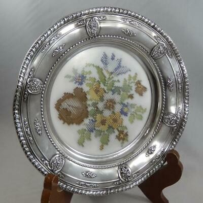 """Wallace Sterling Silver Rose Point 6150 8"""" Wine Coaster Petit Point BG348"""