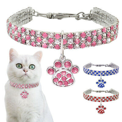 Bling Rhinestone Dog Necklace Collar Diamante&Paw Pendant Pet Puppy Cat Yorkie