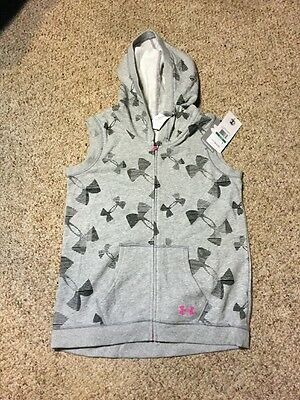 Under Armour Girls Zip Up Hoodie Vest Size YLG LArge Gray School Athletic Logo