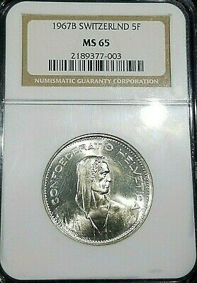 1967 Switzerland 5 Franc - NGC MS-65 - Only 5 higher