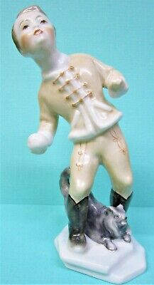 Herend Antique Porcelain Figurine Boy in Hussar Uniform, Dog and Ball 5x2.5
