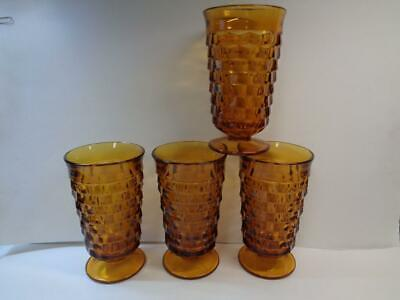 4 Colony Whitehall Indiana Amber Water Ice Tea Tumblers Cube Cubist Glasses 12oz