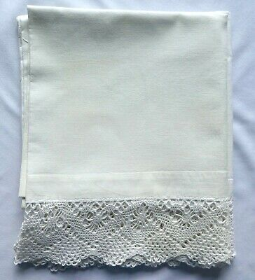 Vintage PAIR of Heavy White Cotton PILLOWCASES w/ Crocheted Edges. Total of 2