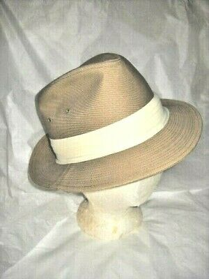 MAN'S VINTAGE TAN FEDORA HAT Yellow Pleated Band & Vents Unworn? USA Union Label