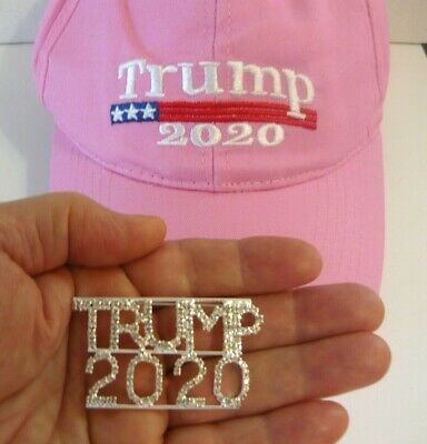 2 Great Products - Rhinestone Trump 2020 Pin and Pink Embroidered Trump 2020 Cap