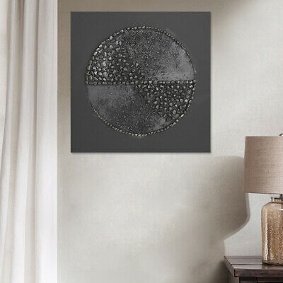 Modern Abstract Oil Painting Hand Paint Wall Art Home Decor Pebble Circle Framed