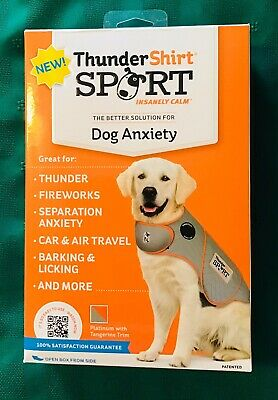 NEW Thundershirt Dog Anxiety Calming Jacket L  41-64 # Dogs Gray/ Tangerine Trim