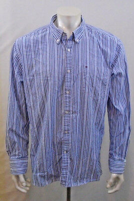 Tommy Hilfiger Extra Large 80's Two Ply Fabric Blue Long Sleeve Pinstriped Shirt