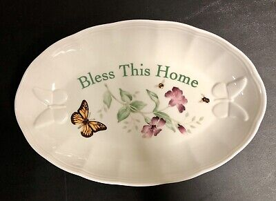 LENOX Butterfly Meadow BLESS THIS HOME Oval Tray Serving Bowl Louise Le Lute EUC
