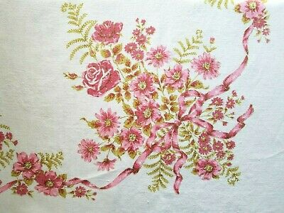 Vintage 1960's PINK Red ROSES Floral LINEN Screen Print Kitchen Tablecloth 54x74