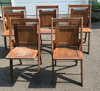 5 VINTAGE wooden folding chairs from a Moose Lodge