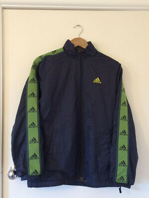 ADIDAS blue and green mesh-lined windbreaker jacket, Mens S or Womens M-L