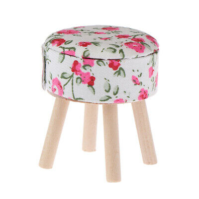 1:12 Dollhouse miniature furniture round floral stool for dolls house decor EB