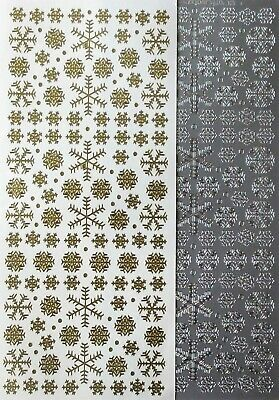 Mixed Small Snowflakes PEEL OFF STICKERS Christmas Snow Gold Silver White