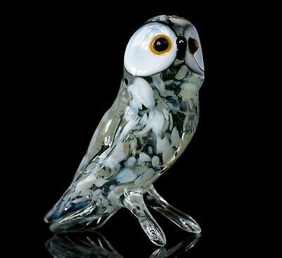 "Owl White, Figurine, Blown Glass ""Murano"" Art Bird Miniature. Made in Russia"