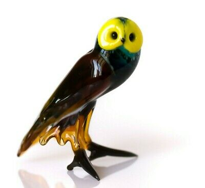 "Owl Green, Figurine, Blown Glass ""Murano"" Art Bird Miniature. Made in Russia"