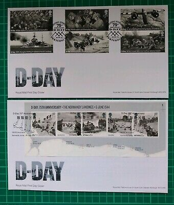 2019 75th Anniversary D-Day Set of 6 AND Miniature Sheet First Day Covers