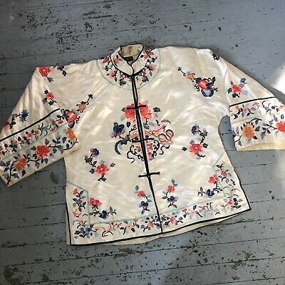 Vintage Antique 1930's Embroidered Chinese Silk Jacket Robe