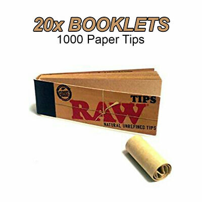 20 Raw Booklets 1000 Filter Tips Rolling Roach Filter Unbleached 100% Vegan