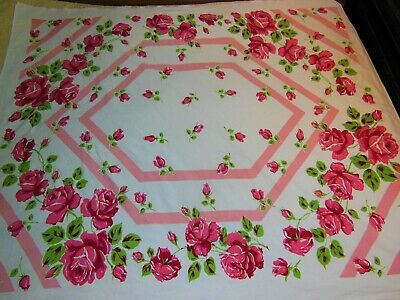Vintage JS&S Tablecloth Large Pink Roses Stripe Border