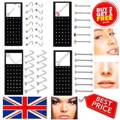 Box Set Surgical Steel Thin Nose Studs Piercing Hoop Ring I L Shape Ball End Bar