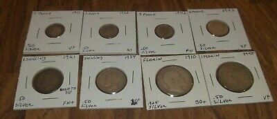 Lot Of 8 Great Brittian Silver Coins Pence, Shilling, And Florin