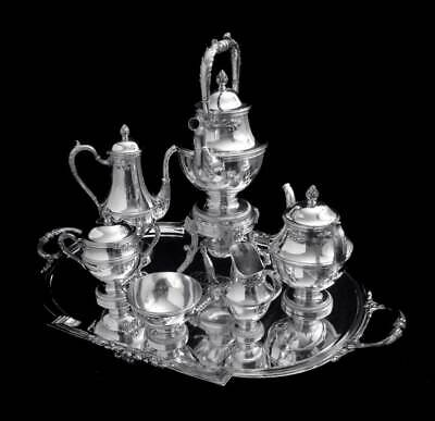 Keller French 950 Sterling Silver Tea Set & Wraps, Museum Quality 1850-1899