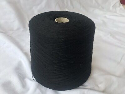 Angora 25%/Wool75% 2/16nmHosiery/knittng Yarn On Large 1100 Gram Cone In Black.
