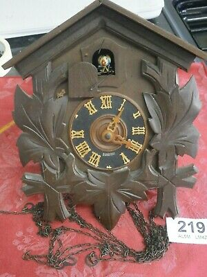 Cuckoo Wall Clock Case Movement Bird Chains Bellows gong Hands part German 219A