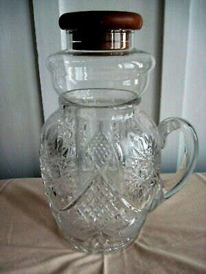 Antique  Vintage Glass Crystal Pitcher With Ice Tube Insert