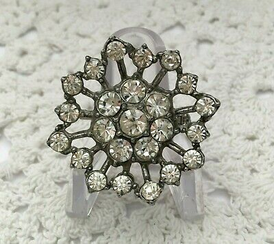 """Authentic Vintage 1940's Pot Metal Gorgeous Rhinestone Brooch/Pin 2 5/8"""""""