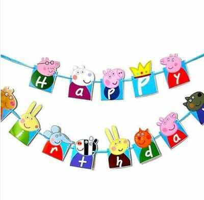 3 Meter Pig Happy Birthday Banner Bunting Party Decoration Flags Kids